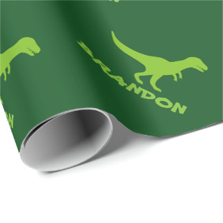 T-rex dinosaur wrapping paper and custom kids name