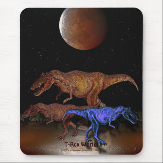 T-Rex Dinosaurs & Eclipsed Moon Mousepad