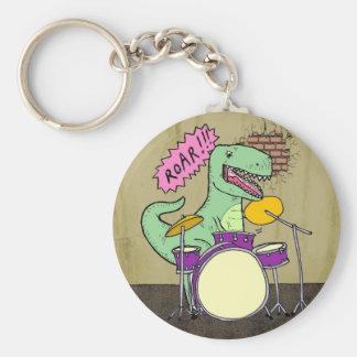 T Rex Drums Basic Round Button Keychain