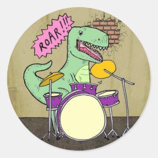T Rex Drums Classic Round Sticker
