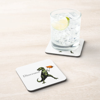 T-Rex eats chicken with knife & fork: A Dinersaur… Drink Coaster