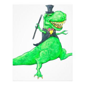 T-Rex en sombrero de copa y colas Membretes Personalizados