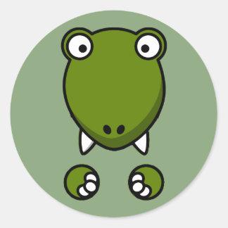 t-rex face classic round sticker