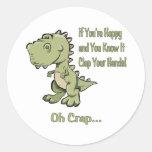 T-Rex feliz Etiquetas Redondas