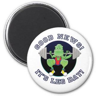 T-Rex. Good News It's Leg Day! 2 Inch Round Magnet