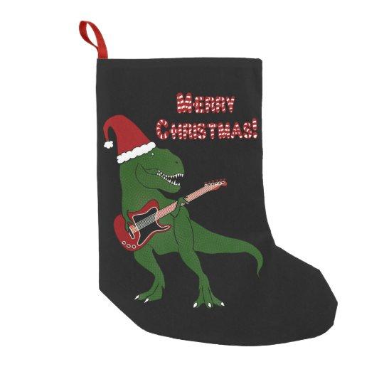 T Rex Christmas.T Rex Guitar Christmas Small Christmas Stocking