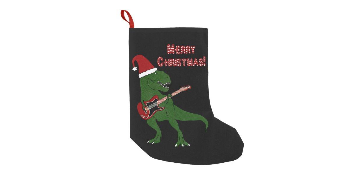 t rex guitar christmas small christmas stocking zazzlecom - Small Christmas Stockings