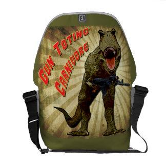 T Rex Gun Toting Carnivore Messenger Bag