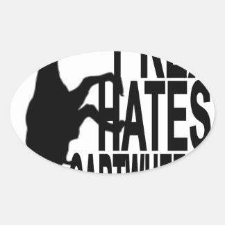T-Rex Hates Cartwheels Dark T-Shirt.png Oval Sticker