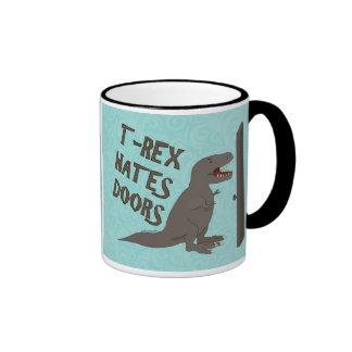 T-Rex Hates Doors Ringer Coffee Mug