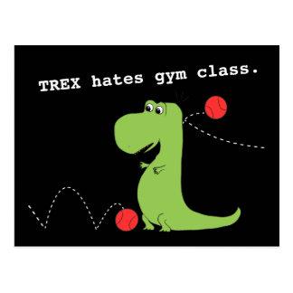 T Rex Hates Gym Class Dinosaur Funny Postcard