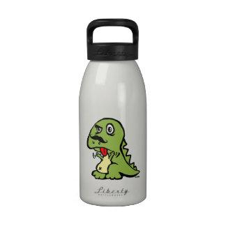 T-rex hates mustache reusable water bottle