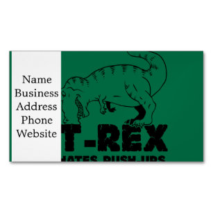 T rex business cards templates zazzle t rex hates push ups business card magnet reheart Gallery