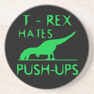 T REX HATES PUSHUPS Funny Dino Design Coaster