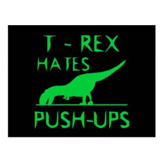 T REX HATES PUSHUPS Funny Dino Design Postcard