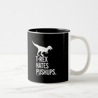 T-Rex Hates Pushups -   - Gym Humor -.png Two-Tone Coffee Mug