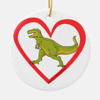 T Rex Heart Double-Sided Ceramic Round Christmas Ornament