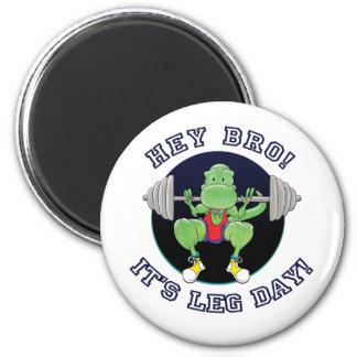 T-Rex. Hey Bro It's Leg Day! 2 Inch Round Magnet