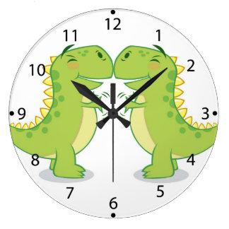 T-Rex Hug...So Close Large Clock