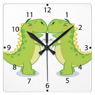 T-Rex Hug...So Close Square Wall Clock