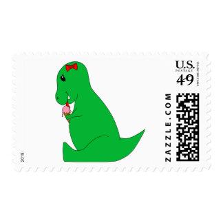 T-Rex Ice Cream Cone Postage Stamp
