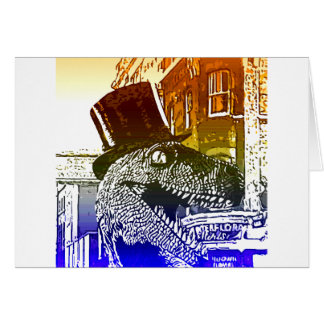 T-Rex in a tophat Card