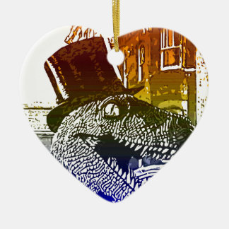 T-Rex in a tophat Double-Sided Heart Ceramic Christmas Ornament