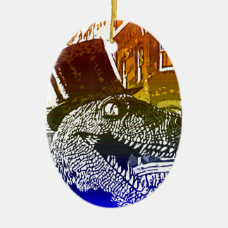 T-Rex in a tophat Double-Sided Oval Ceramic Christmas Ornament