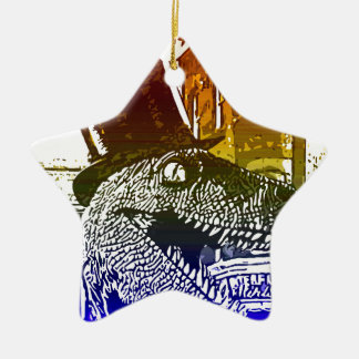 T-Rex in a tophat Double-Sided Star Ceramic Christmas Ornament