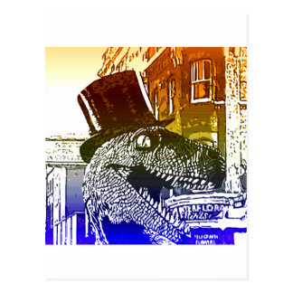 T-Rex in a tophat Postcard