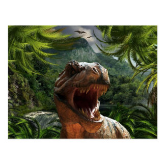 T-Rex In Jungle Postcard Dinosaur