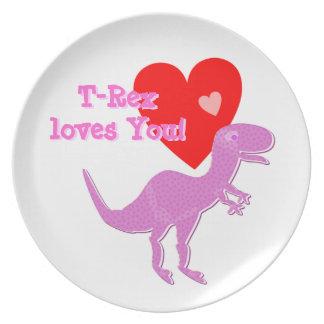 T-Rex le ama placa de cena del dinosaurio del dibu Plato De Comida