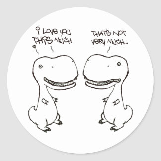 T-rex love classic round sticker