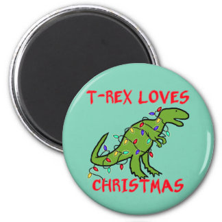 T-Rex Loves Christmas 2 Inch Round Magnet