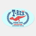 T-Rex Loves Push-Ups Oval Sticker