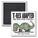 T-Rex Loves Pushups 2 Inch Square Magnet