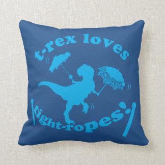 T-Rex Loves Tight-ropes Throw Pillows