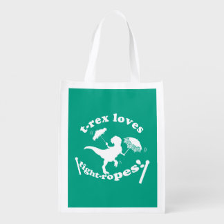 T-Rex Loves Tightropes! Reusable Grocery Bag