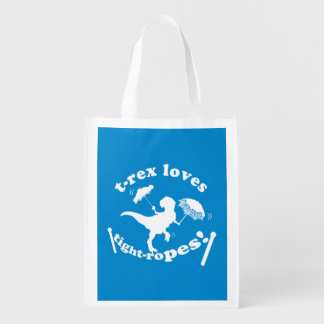 T-Rex Loves Tightropes! Reusable Grocery Bags
