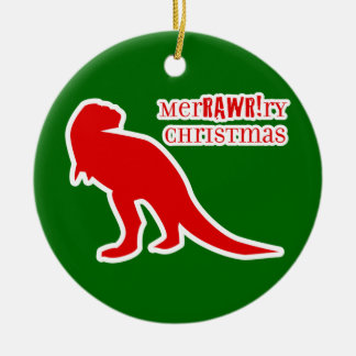 T-rex MerRAWRry Christmas Double-Sided Ceramic Round Christmas Ornament