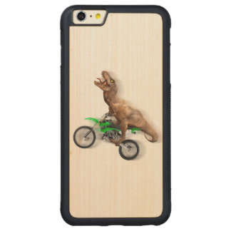 T rex motorcycle - t rex ride - Flying t rex Carved Maple iPhone 6 Plus Bumper Case
