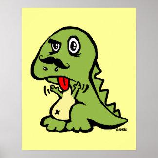 T-rex odia el bigote poster
