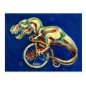 T rex on a penny farthing postcard