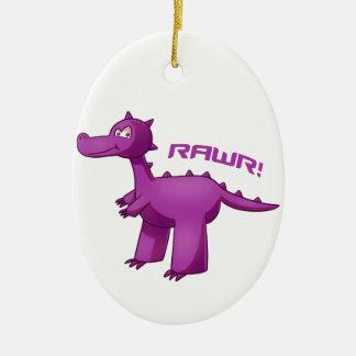 T-Rex púrpura Adorno Ovalado De Cerámica