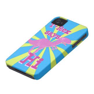 T-Rex púrpura rosado dice hola el caso 4S del iPho Case-Mate iPhone 4 Protectores