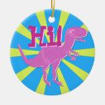 T-Rex púrpura rosado dice hola el ornamento Adornos