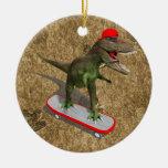 T-Rex que anda en monopatín Ornamento Para Arbol De Navidad