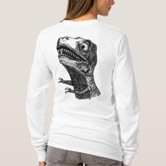 T-Rex Rage Meme - Design Ladies Long Sleev T-Shirt