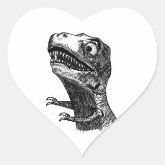 T-Rex Rage Meme - Heart Stickers