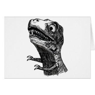 T-Rex Rage Meme - Horizontal Greeting Card